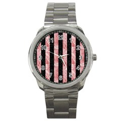Stripes1 Black Marble & Red & White Marble Sport Metal Watch by trendistuff