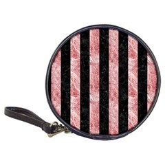 Stripes1 Black Marble & Red & White Marble Classic 20 Cd Wallet by trendistuff