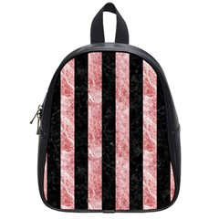 Stripes1 Black Marble & Red & White Marble School Bag (small) by trendistuff