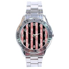 Stripes1 Black Marble & Red & White Marble Stainless Steel Analogue Watch by trendistuff
