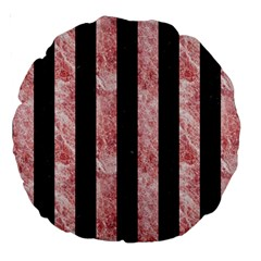 Stripes1 Black Marble & Red & White Marble Large 18  Premium Round Cushion  by trendistuff