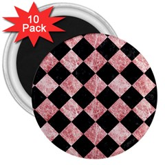 Square2 Black Marble & Red & White Marble 3  Magnet (10 Pack) by trendistuff