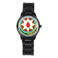 National Emblem Of Azerbaijan Stainless Steel Round Watch by abbeyz71