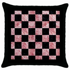 Square1 Black Marble & Red & White Marble Throw Pillow Case (black) by trendistuff