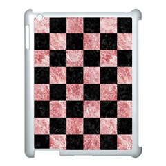 Square1 Black Marble & Red & White Marble Apple Ipad 3/4 Case (white) by trendistuff