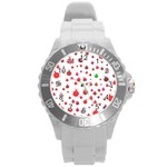 Beetle Animals Red Green Fly Round Plastic Sport Watch (L) Front