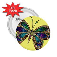 Butterfly Mosaic Yellow Colorful 2 25  Buttons (10 Pack)  by Amaryn4rt