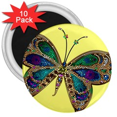 Butterfly Mosaic Yellow Colorful 3  Magnets (10 Pack)
