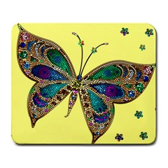 Butterfly Mosaic Yellow Colorful Large Mousepads by Amaryn4rt