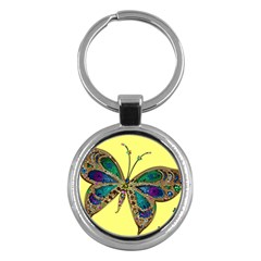 Butterfly Mosaic Yellow Colorful Key Chains (round)  by Amaryn4rt