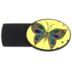Butterfly Mosaic Yellow Colorful Usb Flash Drive Oval (2 Gb)  by Amaryn4rt