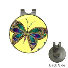 Butterfly Mosaic Yellow Colorful Hat Clips With Golf Markers by Amaryn4rt