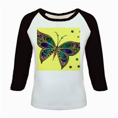 Butterfly Mosaic Yellow Colorful Kids Baseball Jerseys by Amaryn4rt