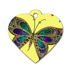 Butterfly Mosaic Yellow Colorful Dog Tag Heart (one Side) by Amaryn4rt