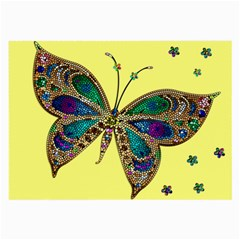 Butterfly Mosaic Yellow Colorful Large Glasses Cloth (2 Side) by Amaryn4rt