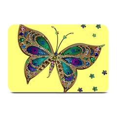 Butterfly Mosaic Yellow Colorful Plate Mats by Amaryn4rt
