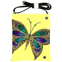 Butterfly Mosaic Yellow Colorful Shoulder Sling Bags by Amaryn4rt