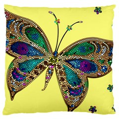 Butterfly Mosaic Yellow Colorful Large Cushion Case (two Sides) by Amaryn4rt