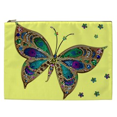 Butterfly Mosaic Yellow Colorful Cosmetic Bag (xxl)  by Amaryn4rt
