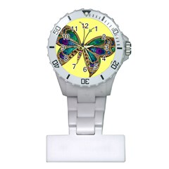 Butterfly Mosaic Yellow Colorful Plastic Nurses Watch by Amaryn4rt