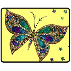 Butterfly Mosaic Yellow Colorful Double Sided Fleece Blanket (medium)  by Amaryn4rt