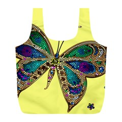 Butterfly Mosaic Yellow Colorful Full Print Recycle Bags (l)  by Amaryn4rt