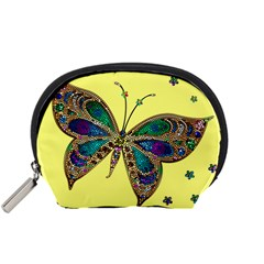 Butterfly Mosaic Yellow Colorful Accessory Pouches (small)  by Amaryn4rt