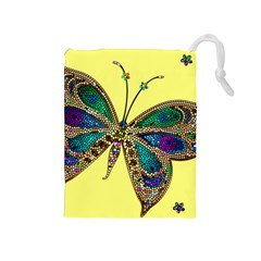 Butterfly Mosaic Yellow Colorful Drawstring Pouches (medium)  by Amaryn4rt