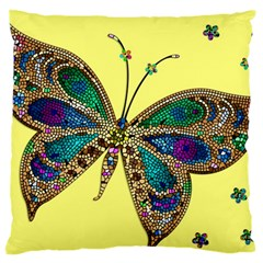 Butterfly Mosaic Yellow Colorful Large Flano Cushion Case (two Sides) by Amaryn4rt