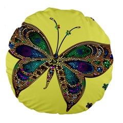 Butterfly Mosaic Yellow Colorful Large 18  Premium Flano Round Cushions by Amaryn4rt