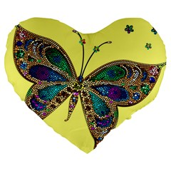 Butterfly Mosaic Yellow Colorful Large 19  Premium Flano Heart Shape Cushions by Amaryn4rt