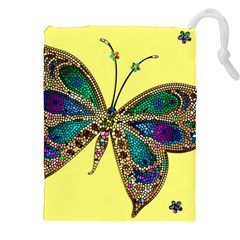 Butterfly Mosaic Yellow Colorful Drawstring Pouches (xxl) by Amaryn4rt