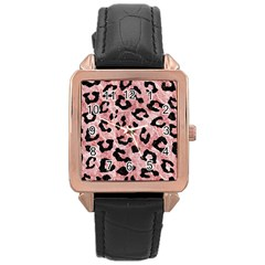 Skin5 Black Marble & Red & White Marble Rose Gold Leather Watch  by trendistuff