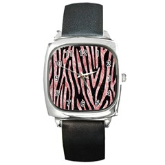 Skin4 Black Marble & Red & White Marble (r) Square Metal Watch by trendistuff