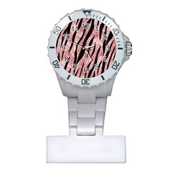 Skin3 Black Marble & Red & White Marble (r) Plastic Nurses Watch by trendistuff