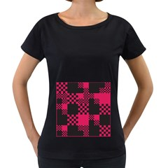 Cube Square Block Shape Creative Women s Loose Fit T Shirt (black) by Amaryn4rt