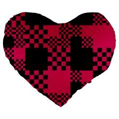Cube Square Block Shape Creative Large 19  Premium Flano Heart Shape Cushions by Amaryn4rt