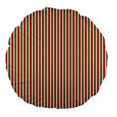 Pattern Background Red White Green Large 18  Premium Flano Round Cushions by Amaryn4rt