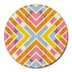 Line Pattern Cross Print Repeat Round Mousepads