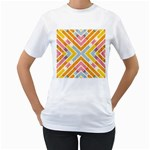 Line Pattern Cross Print Repeat Women s T-Shirt (White) (Two Sided)