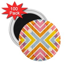 Line Pattern Cross Print Repeat 2 25  Magnets (100 Pack)  by Amaryn4rt