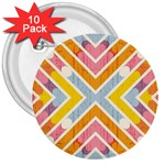 Line Pattern Cross Print Repeat 3  Buttons (10 pack)