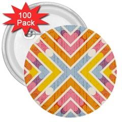 Line Pattern Cross Print Repeat 3  Buttons (100 Pack)  by Amaryn4rt