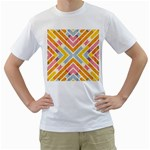 Line Pattern Cross Print Repeat Men s T-Shirt (White) (Two Sided)