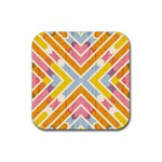 Line Pattern Cross Print Repeat Rubber Coaster (Square)