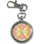 Line Pattern Cross Print Repeat Key Chain Watches
