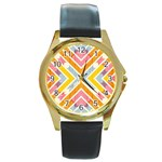 Line Pattern Cross Print Repeat Round Gold Metal Watch