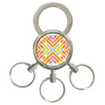 Line Pattern Cross Print Repeat 3-Ring Key Chains