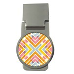 Line Pattern Cross Print Repeat Money Clips (Round)