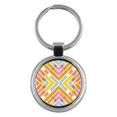 Line Pattern Cross Print Repeat Key Chains (round)  by Amaryn4rt